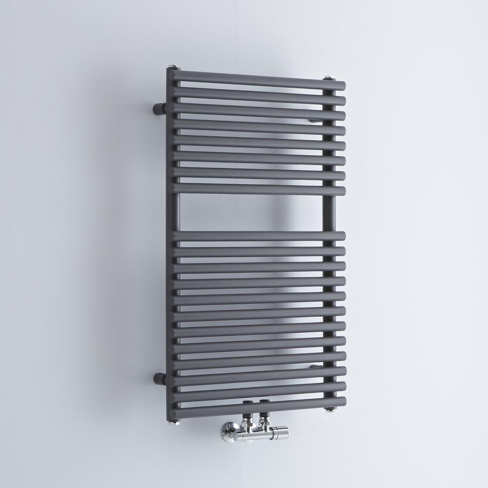 Milano Via - Anthracite Bar on Bar Central Connection Heated Towel Rail 835mm x 500mm