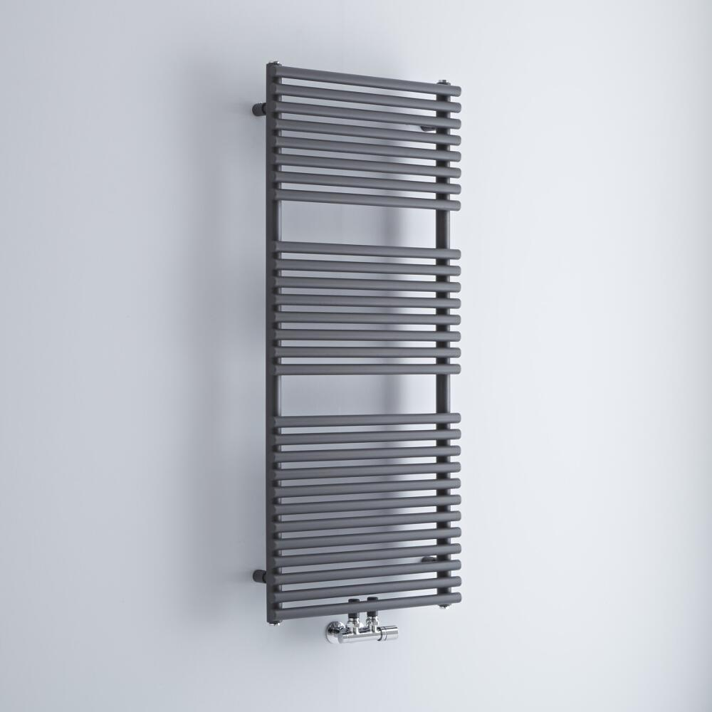 Milano Via - Anthracite Central Connection Bar on Bar Heated Towel Rail - 1215mm x 500mm