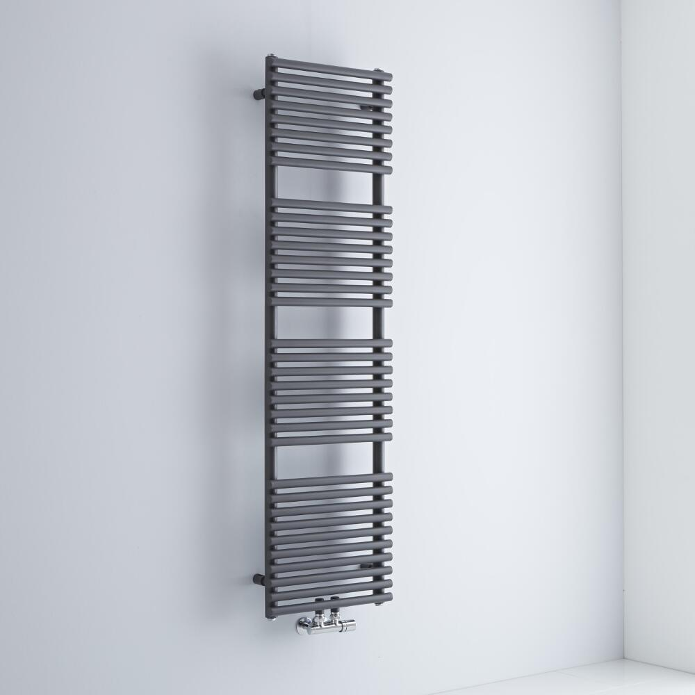 Milano Via - Anthracite Bar on Bar Central Connection Heated Towel Rail - 1500mm x 400mm