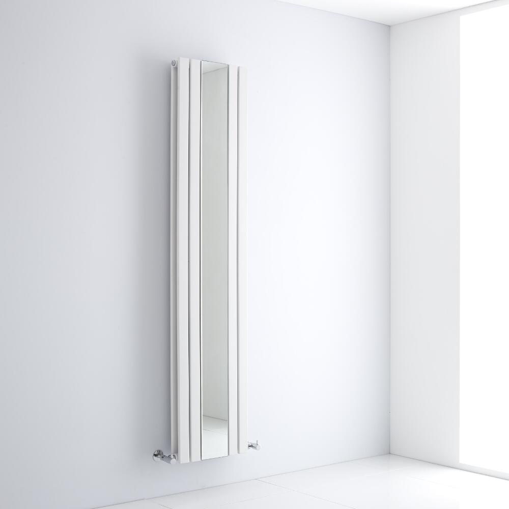 Milano Icon - White Vertical Designer Radiator With Mirror - 1800mm x 385mm