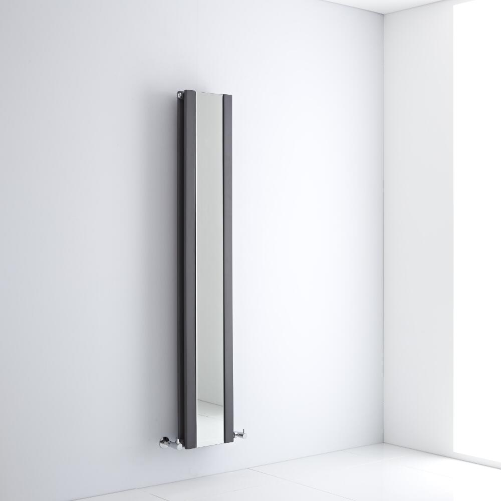 Milano Icon - Anthracite Vertical Designer Radiator With Mirror - 1600mm x 265mm
