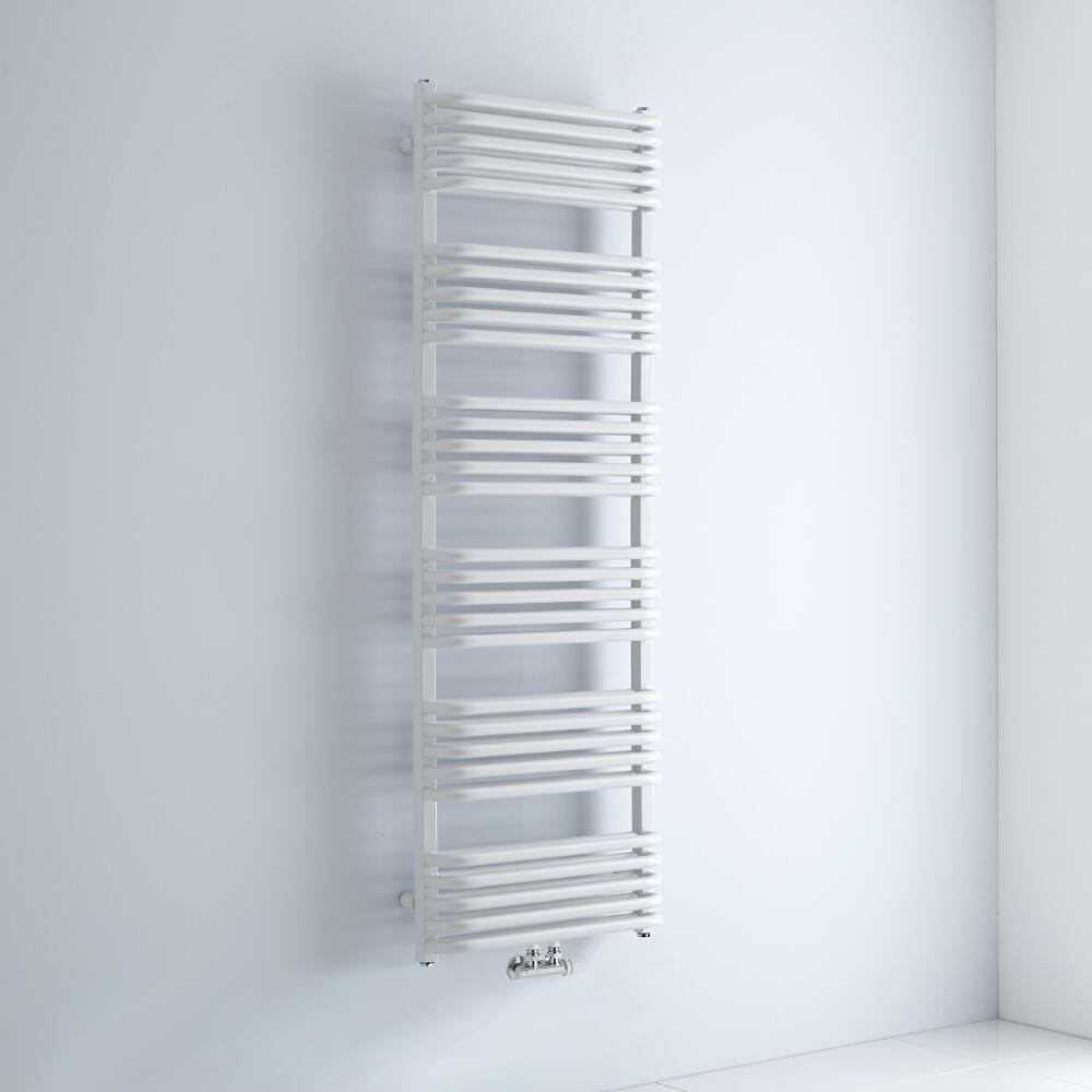 Milano Bow - White D-Bar Heated Towel Rail - 1533mm x 500mm
