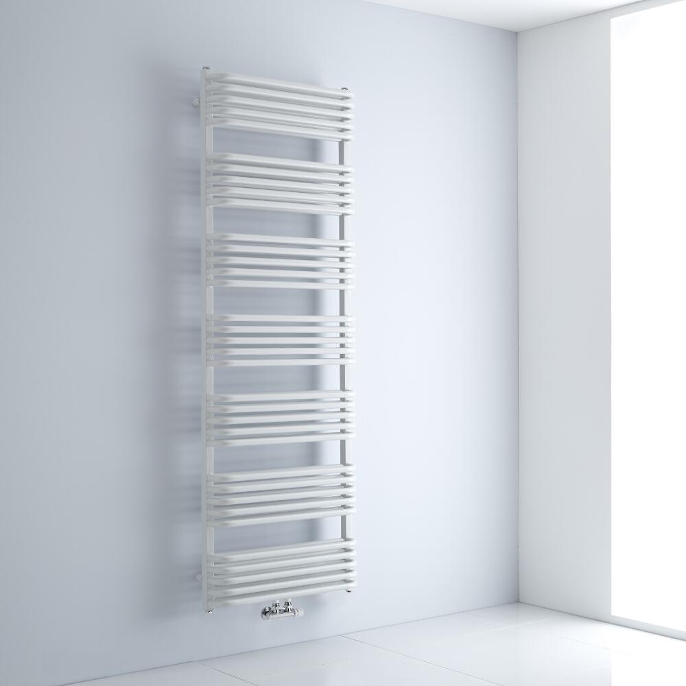 Milano Bow - White D-Bar Heated Towel Rail - 1800mm x 600mm