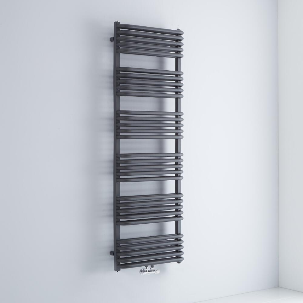 Milano Bow - Anthracite D-Bar Central Connection Heated Towel Rail - 1533mm x 500mm