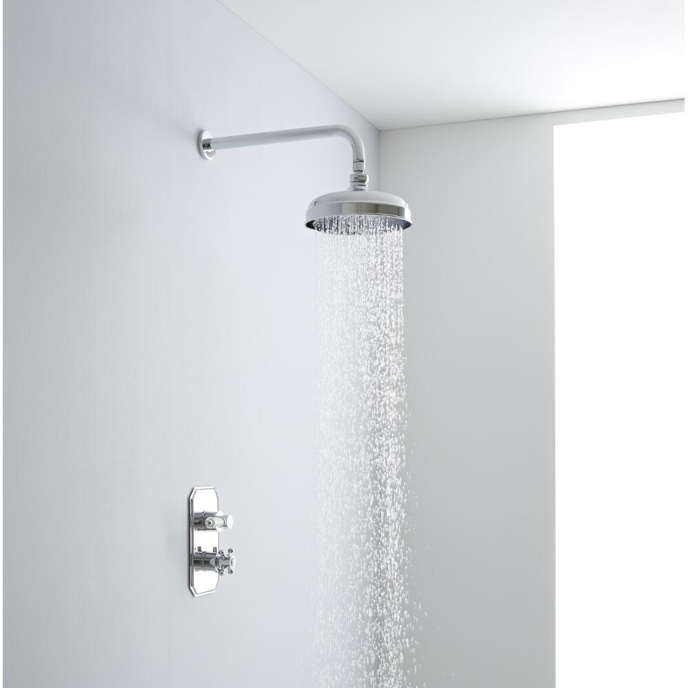 Milano Traditional Thermostatic One Outlet Shower with 200mm Apron Head & Arm