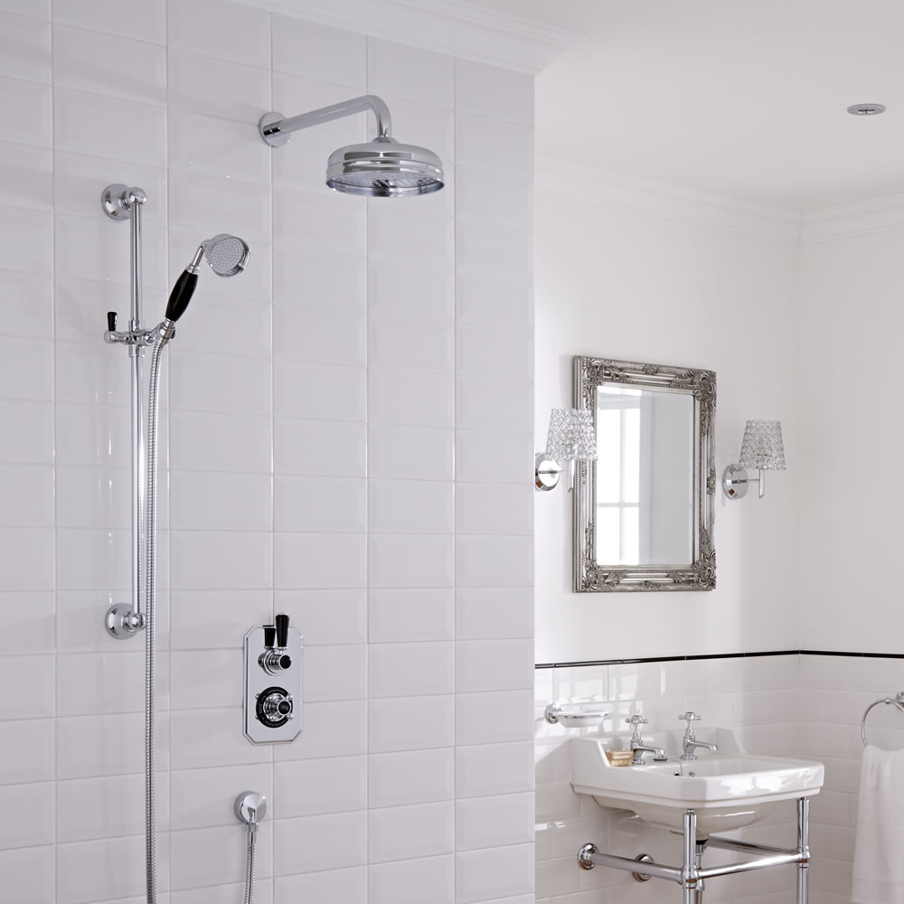 Hudson Reed Twin Two Outlet Traditional Shower with Head and Slide Rail - Chrome/Black