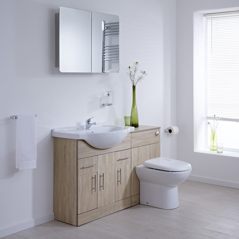 Milano Classic Oak 1340mm Vanity and WC Combination Unit With Tap & Waste
