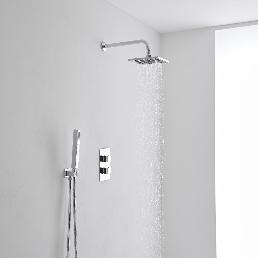 Milano 200mm Square Wall Mounted Head, Handset & Twin Thermostatic Shower Mixer Kit