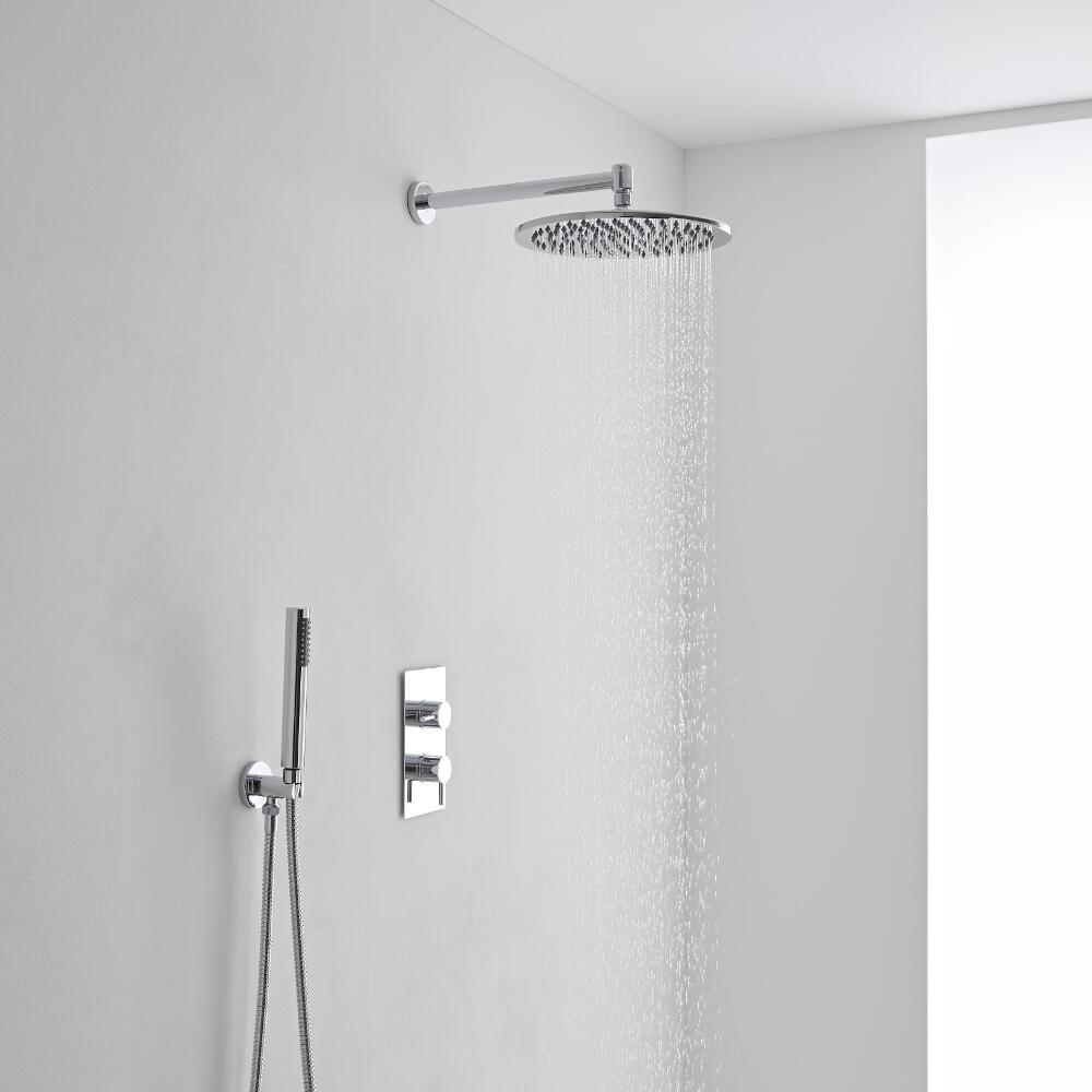 Milano 300mm Round Wall Mounted Head, Handset & Thermostatic Shower Mixer Kit