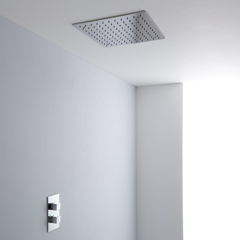 Milano 400mm Large Square Ceiling Tile Fixed Head & Thermostatic Shower Valve