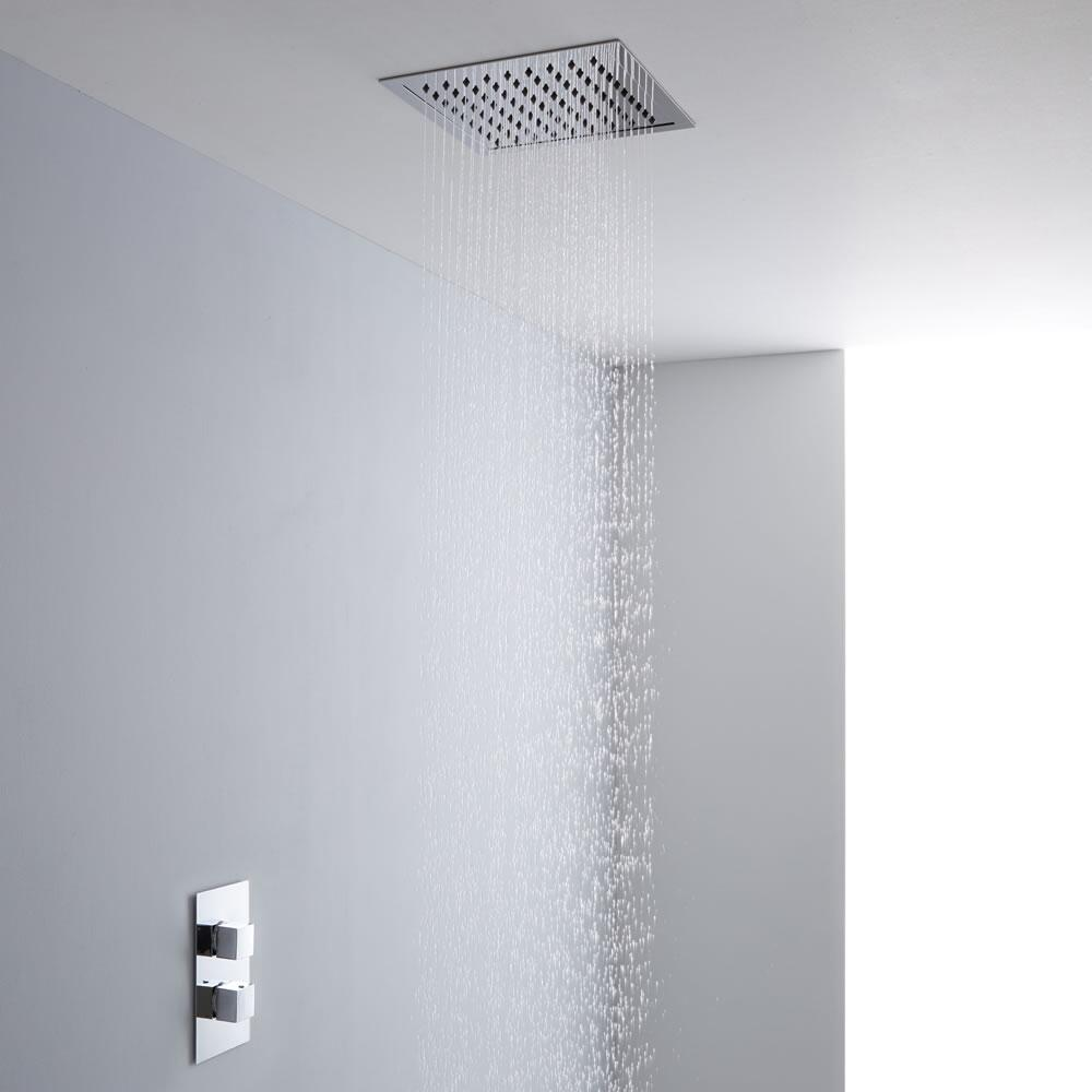 Milano 280mm Square Ceiling Tile Fixed Head & Thermostatic Shower Mixer Kit