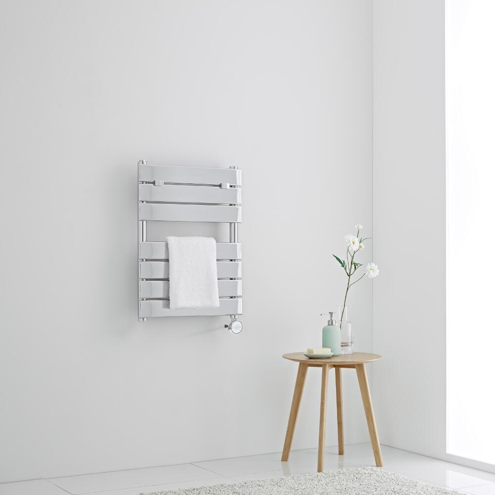 Milano Electric Lustro - Designer Chrome Flat Panel Heated Towel Rail - 620mm x 455mm