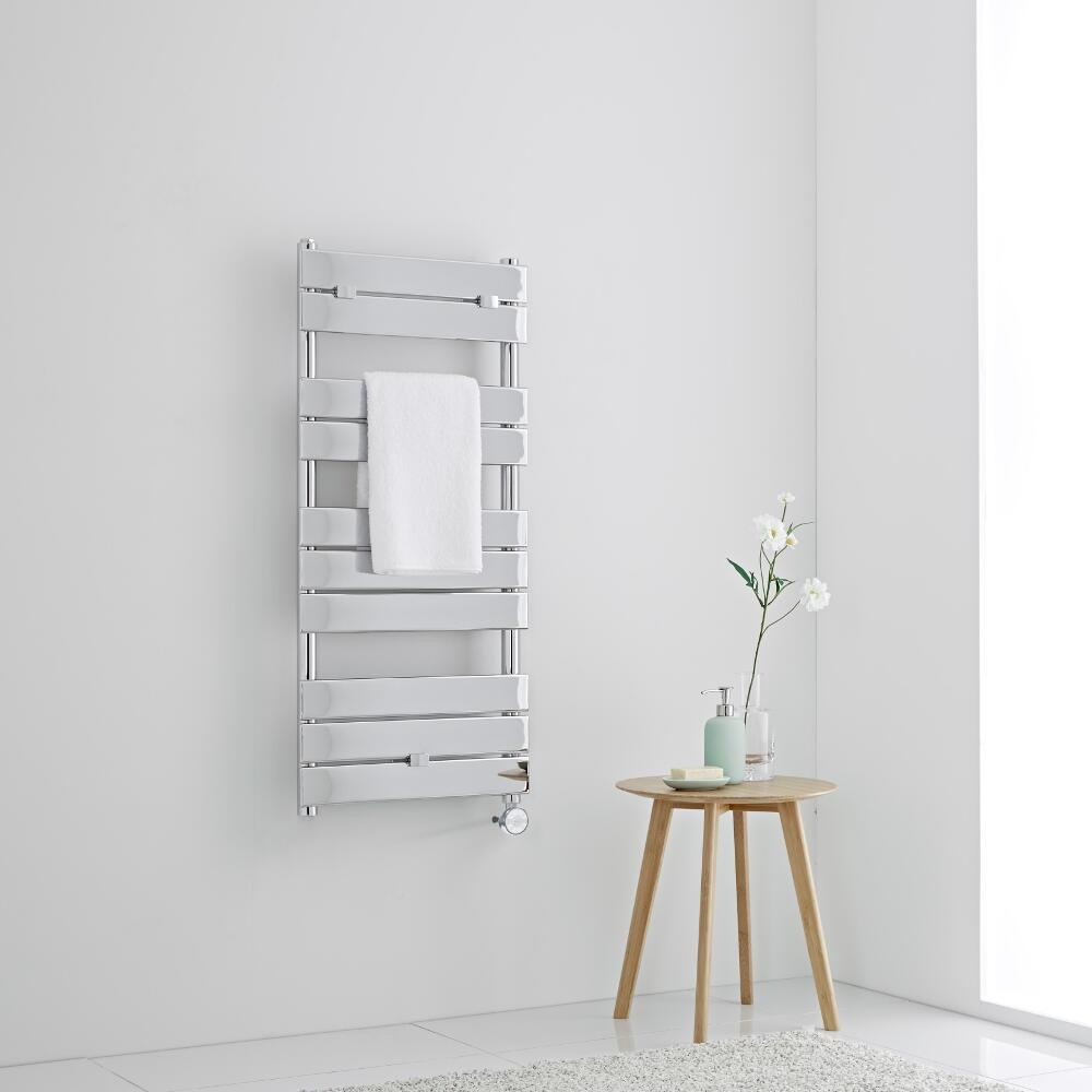 Milano Lustro Electric - Designer Chrome Flat Panel Heated Towel Rail - 1000mm x 450mm