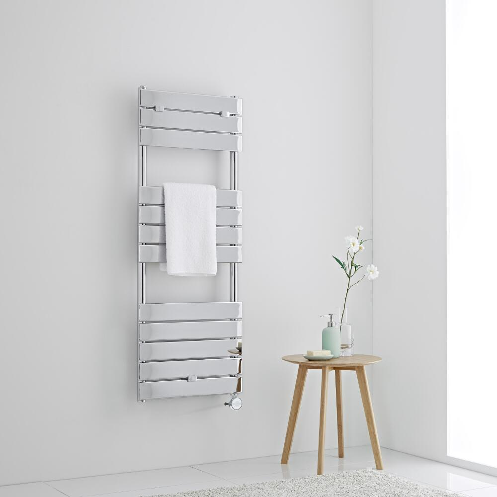 Milano Lustro Electric - Designer Chrome Flat Panel Heated Towel Rail - 1213mm x 450mm