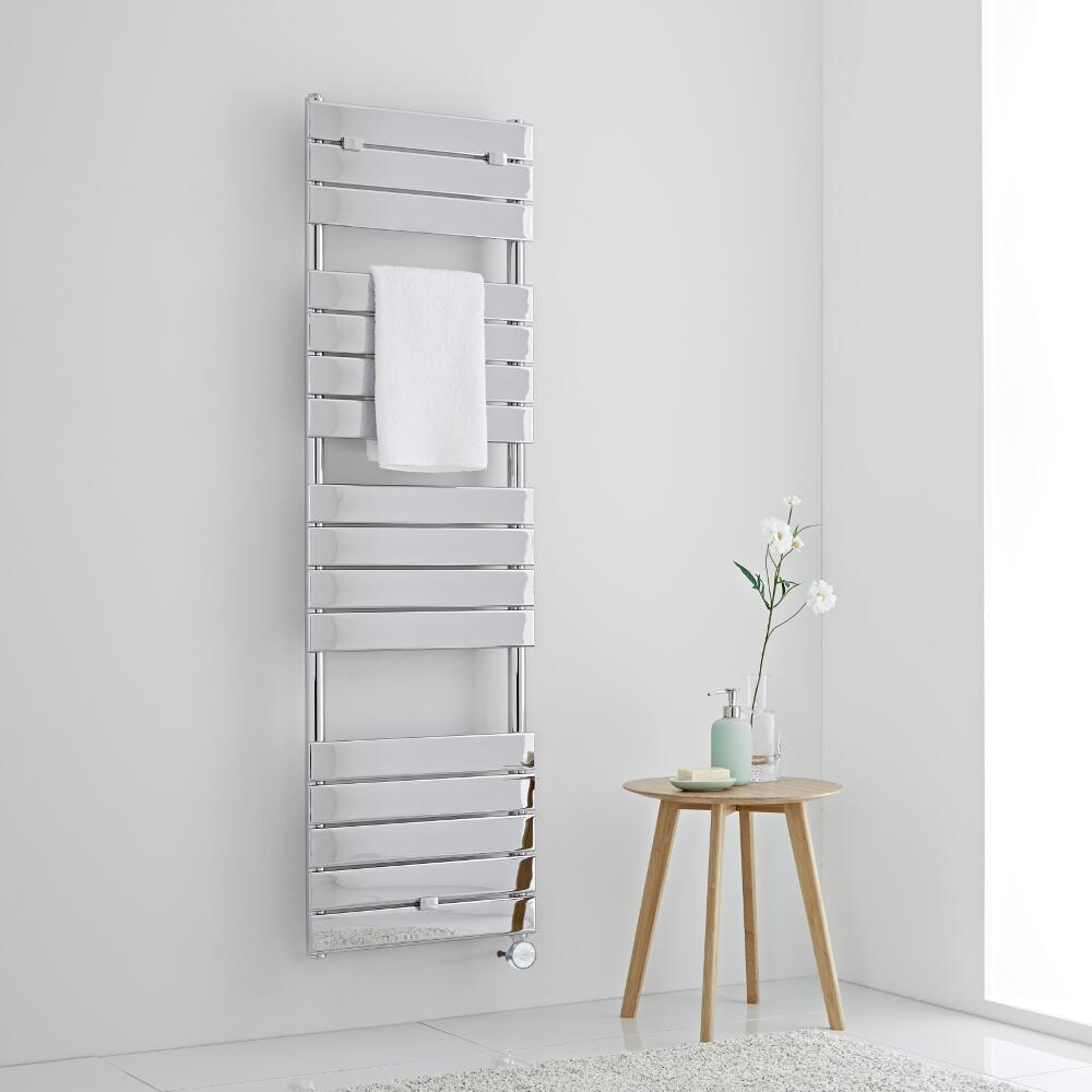 Milano Lustro Electric - Chrome Flat Panel Designer Heated Towel Rail - 1512mm x 450mm