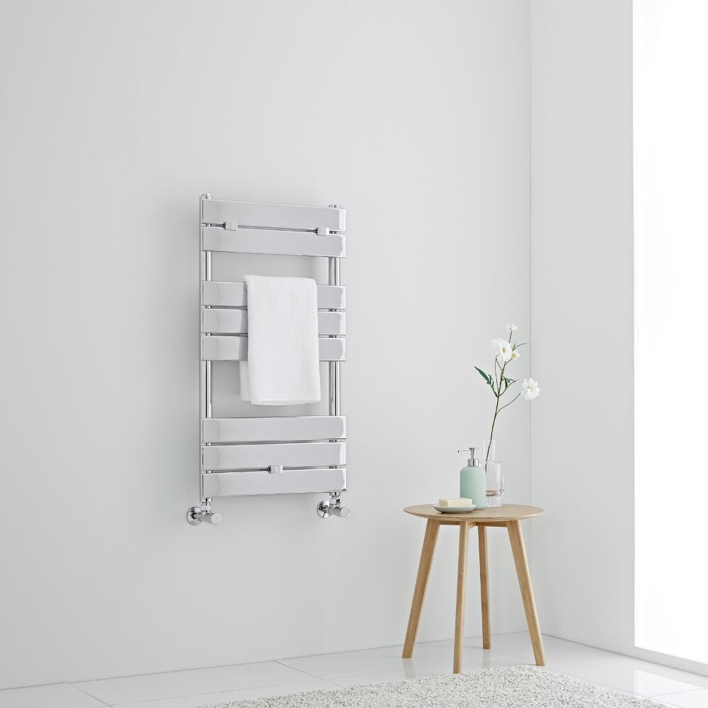 Milano Lustro - Designer Chrome Flat Panel Heated Towel Rail - 840mm x 450mm