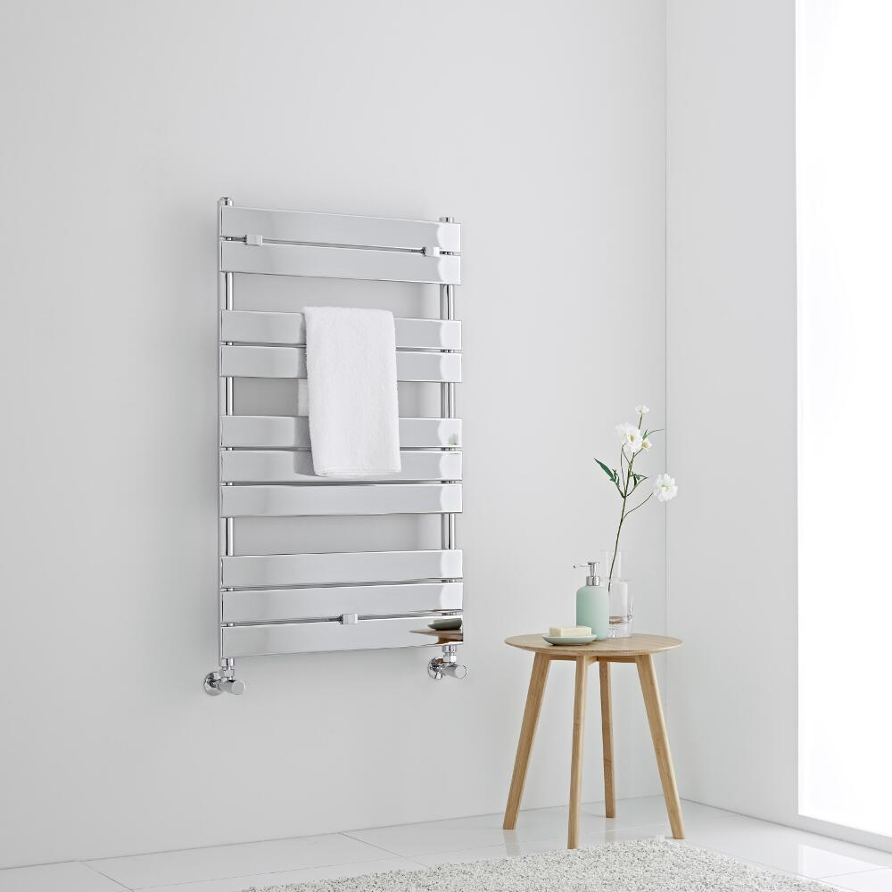Milano Lustro - Chrome Flat Panel Designer Heated Towel Rail - 1000mm x 600mm