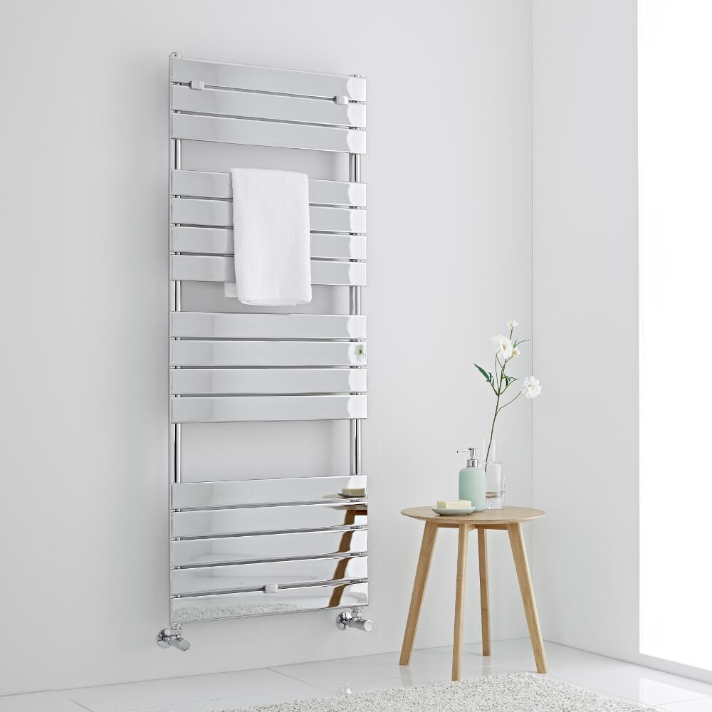 Milano Lustro - Chrome Flat Panel Designer Heated Towel Rail - 1512mm x 600mm