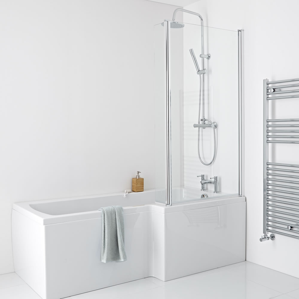 Milano - 1700 x 850mm Square Shower Bath with Panels and Screen - Right Hand