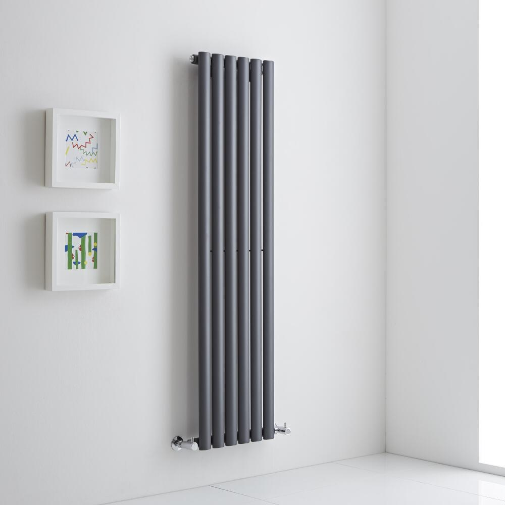 Milano Aruba Aiko - Anthracite Vertical Designer Radiator 1400mm x 354mm (Single)