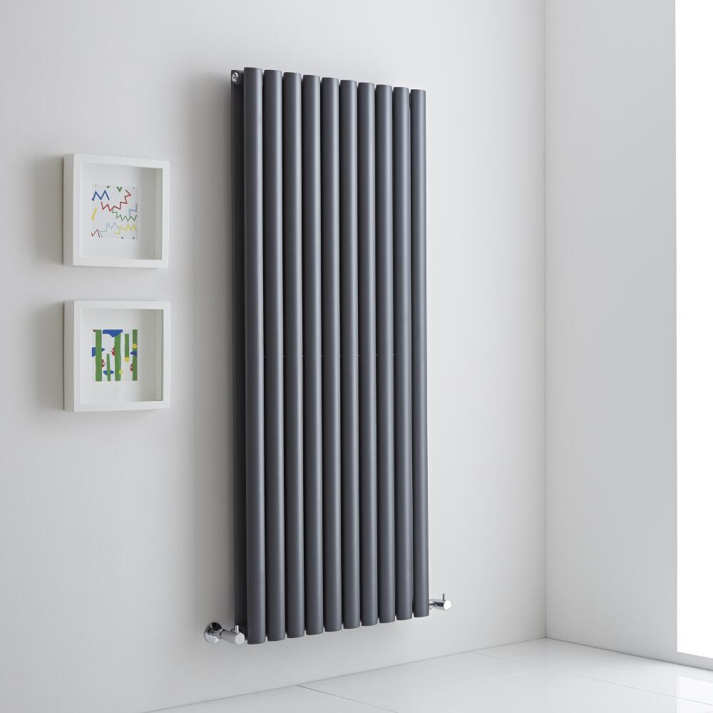 Milano Aruba Aiko - Anthracite Vertical Designer Radiator - 1400mm x 590mm (Double Panel)