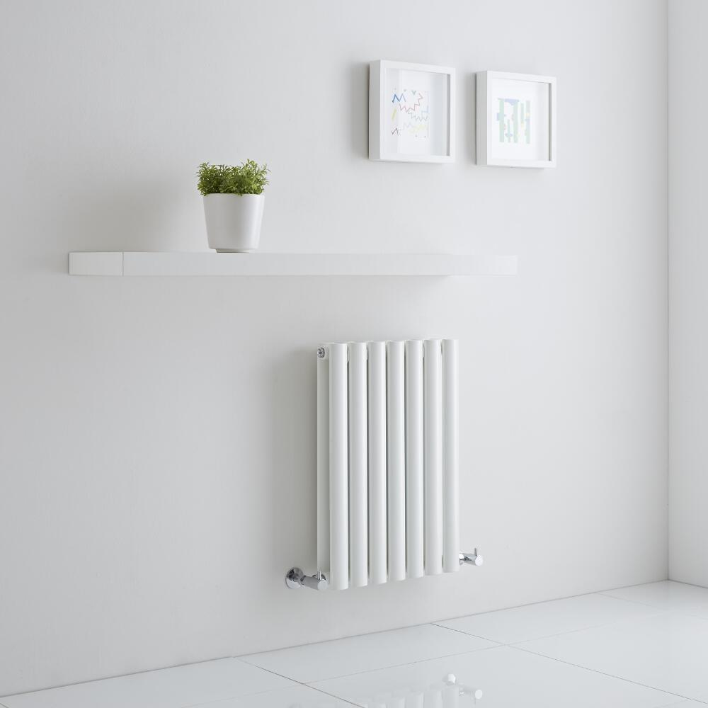 Milano Aruba Aiko - White Horizontal Designer Radiator - 600mm x 415mm (Double Panel)