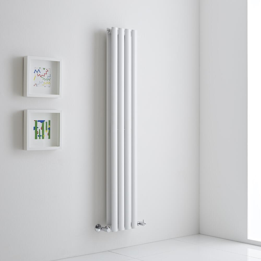 Milano Aruba Aiko - White Vertical Designer Radiator - 1400mm x 236mm (Double Panel)