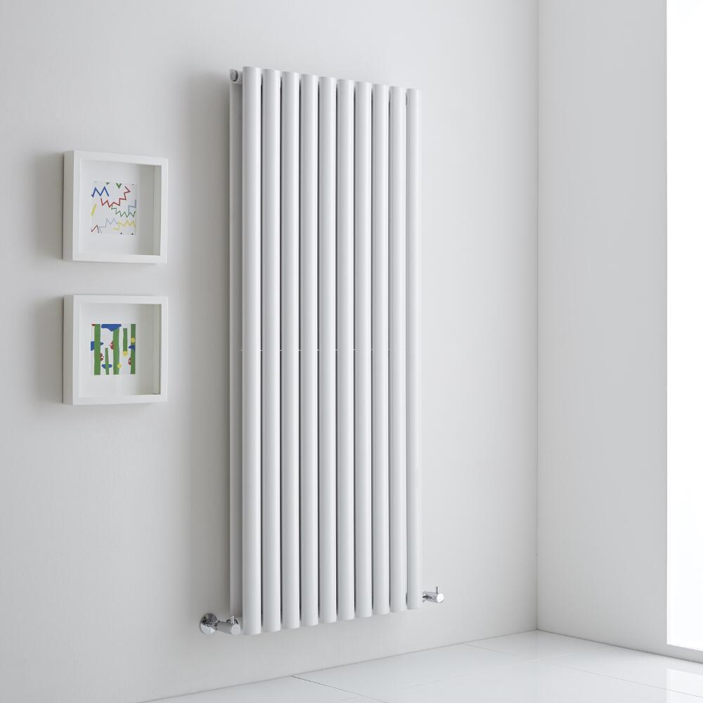 Milano Aruba Aiko - White Vertical Designer Radiator - 1400mm x 590mm (Double Panel)