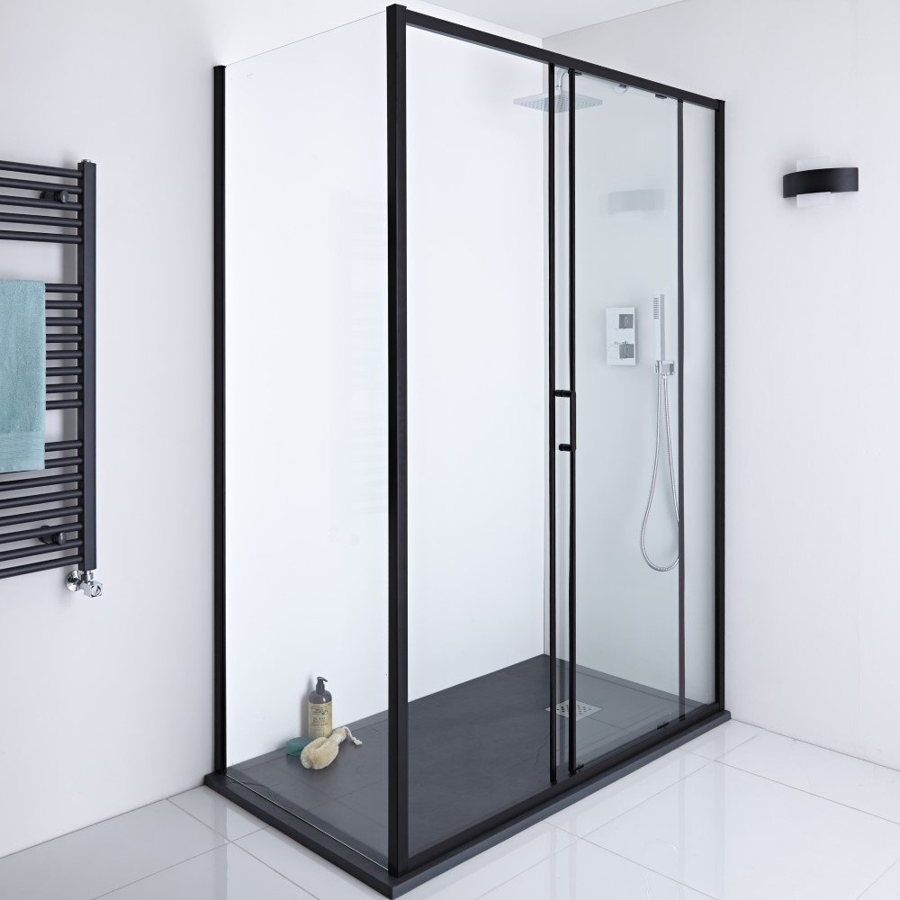 Milano Nero Glass Shower Side Panel - Black - 800mm x 1950mm