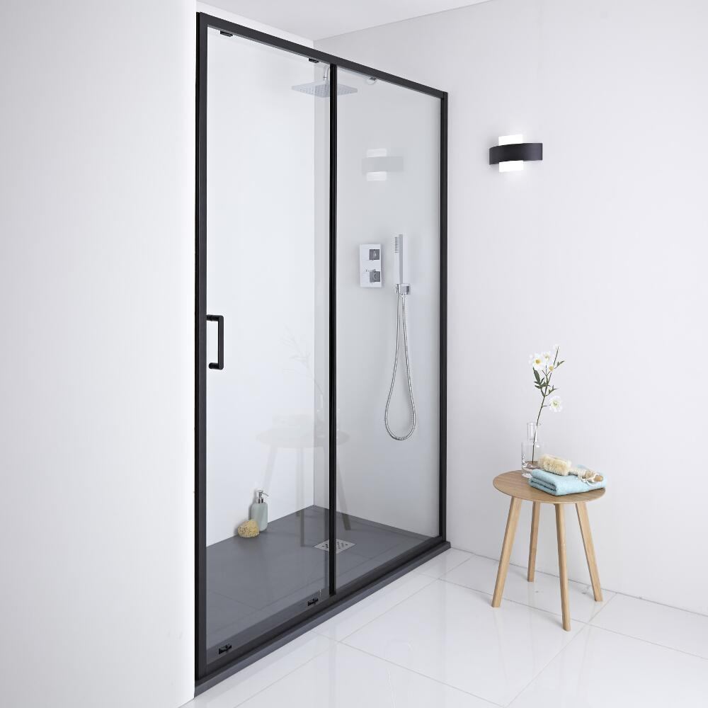 Milano Nero Shower Sliding Door - Black - 1400mm x 1950mm