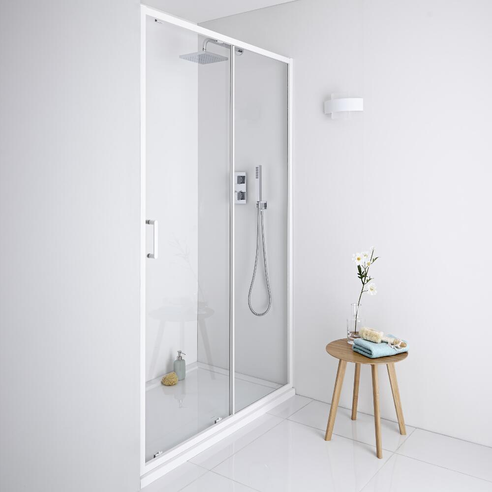 Milano Bianco Shower Sliding Door White - 1000mm x 1950mm