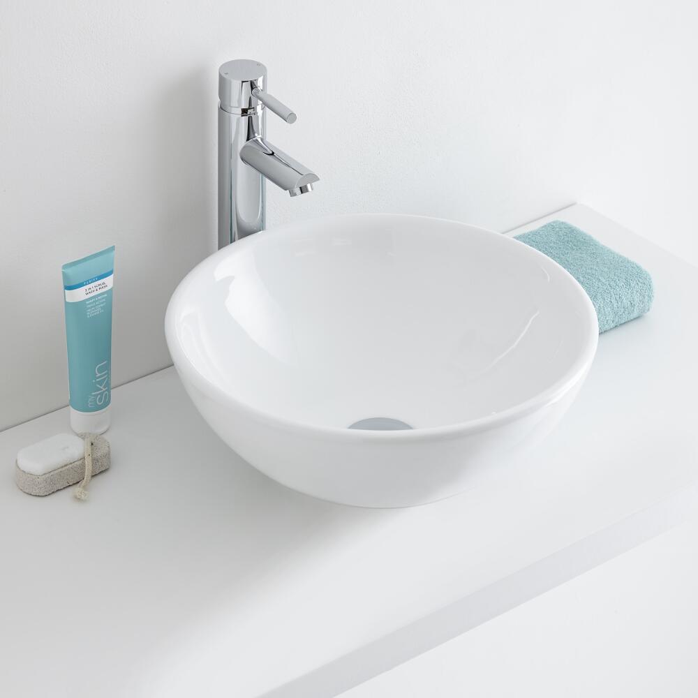 Milano Irwell - Round Ceramic Countertop Basin 400mm