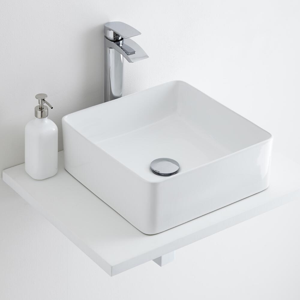 Milano Rivington - Square Ceramic Countertop Basin 360mm