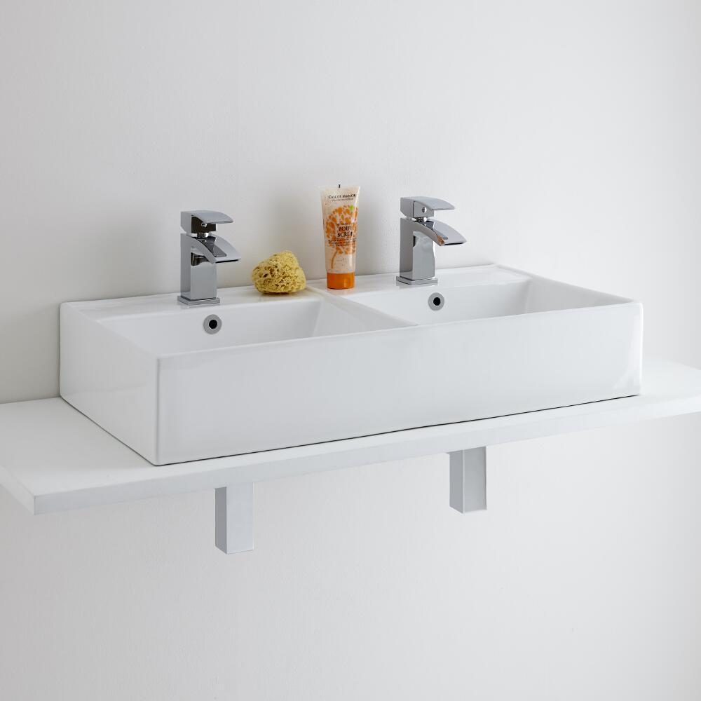 Milano Dalton - Double Ceramic Countertop Basin 820 x 420mm