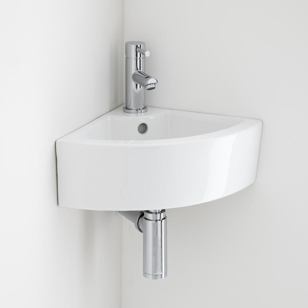 Milano Newby - Ceramic Wall Hung Corner Basin 460 x 320mm