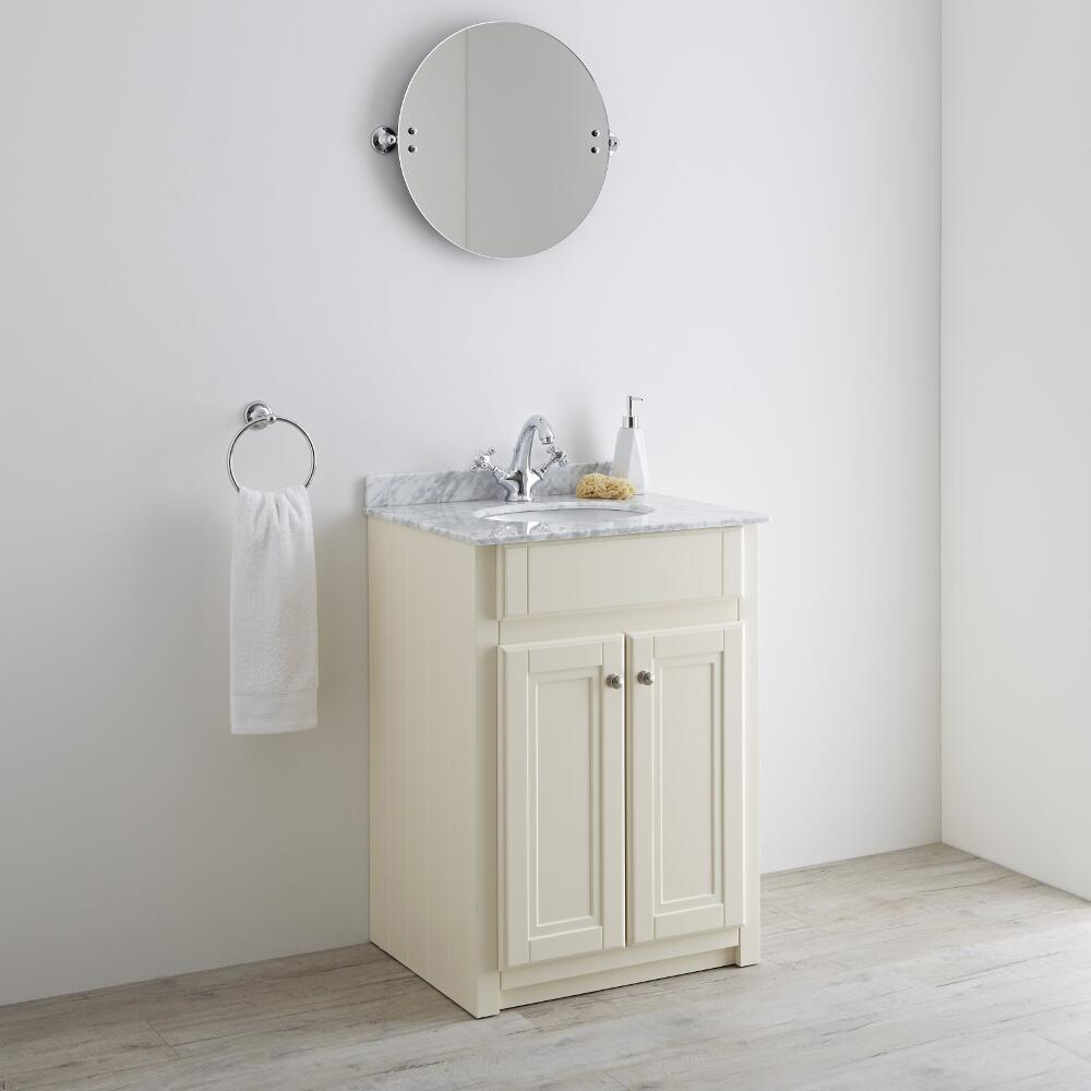 Milano Edgworth - Ivory and White Traditional 600mm Vanity Unit and Basin (1 Tap-Hole)