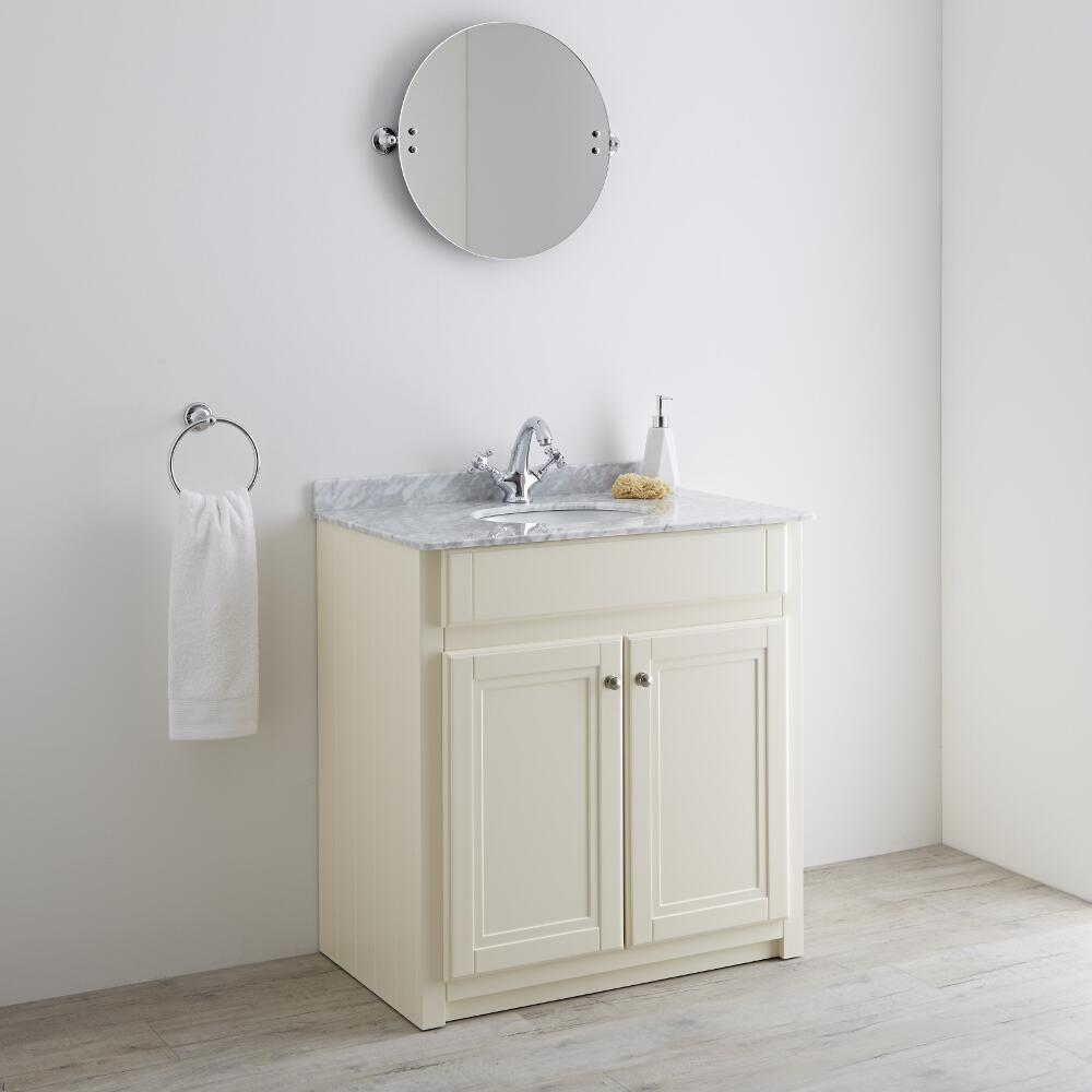 Milano Edgworth - Ivory and White Traditional 800mm Vanity Unit and Basin (1 Tap-Hole)