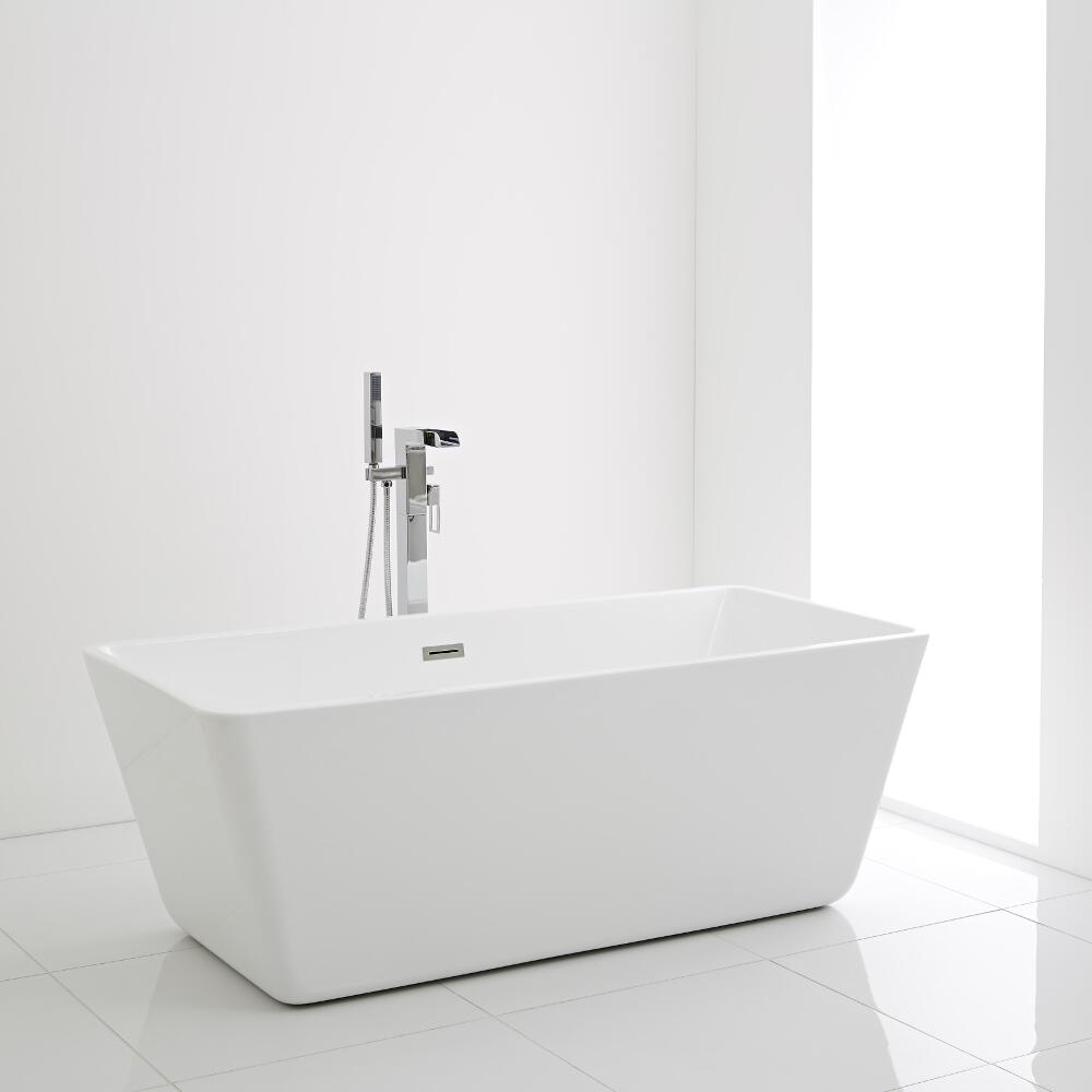 Milano Elswick - 1615 x 720mm Modern Square Double Ended Freestanding Bath