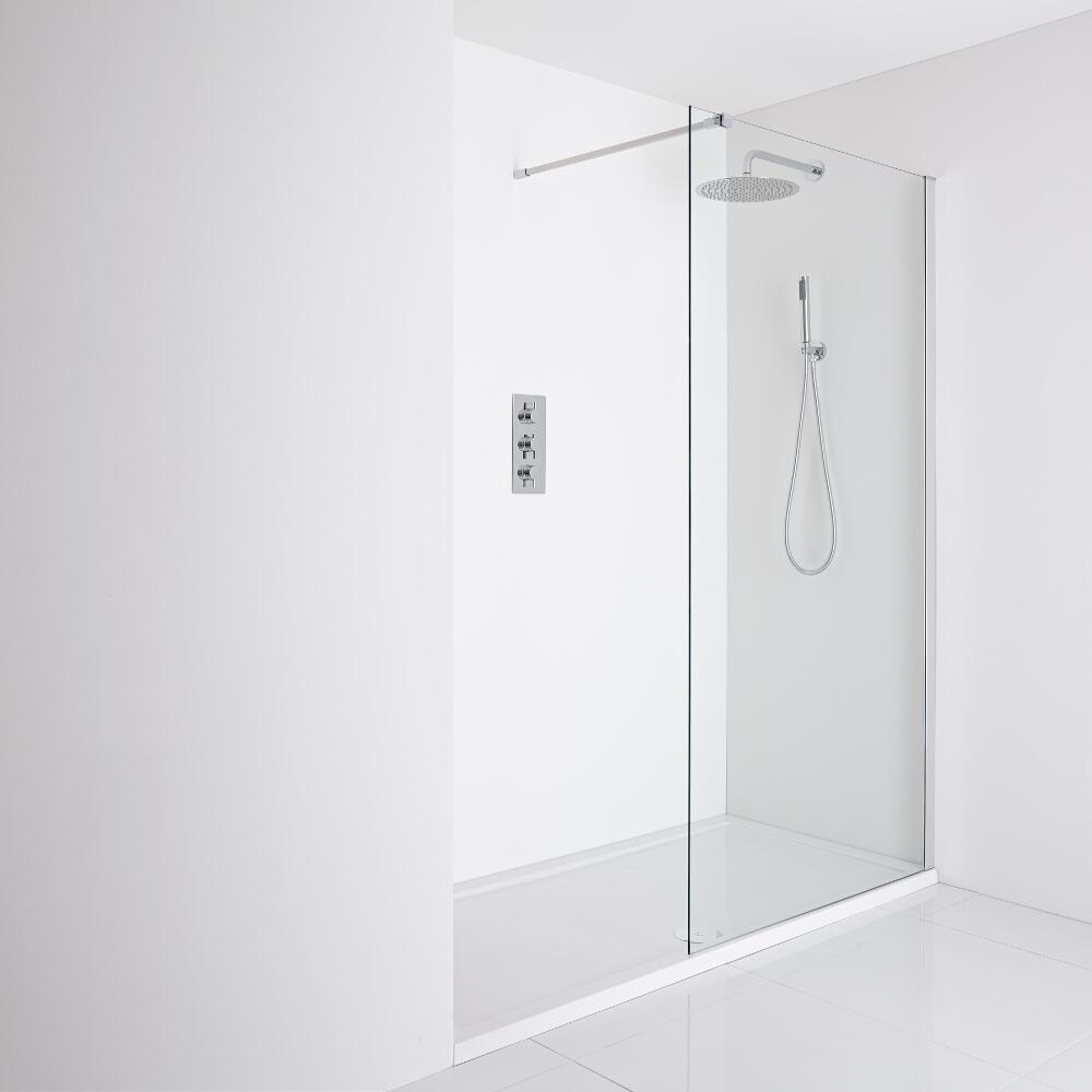 Milano Portland Recessed Walk-In Shower Enclosure (1700 x 800mm) - Inc. Tray