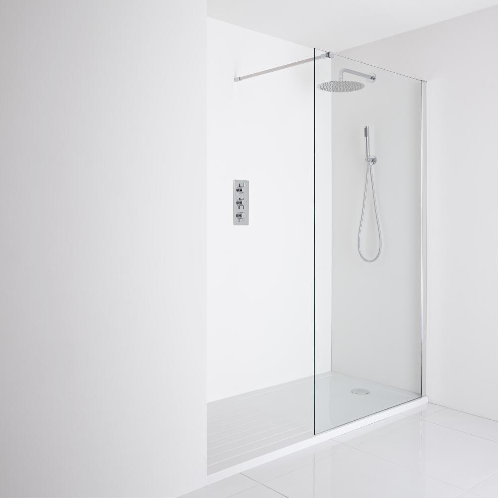 Milano Portland Recessed Walk-In Shower Enclosure (1700 x 800mm) - Inc. Walk-in Tray