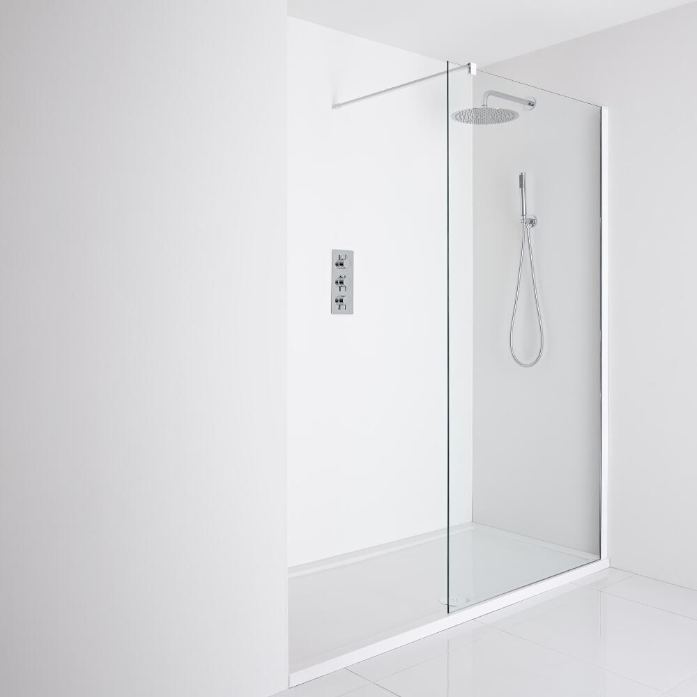 Milano Bianco Recessed Walk-In Shower Enclosure (1400 x 800mm) - Inc. Tray