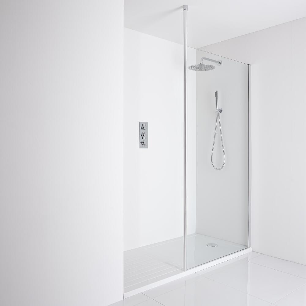 Milano Alto Recessed Walk-In Shower Enclosure (1600 x 800mm) - Inc. Walk-In Tray