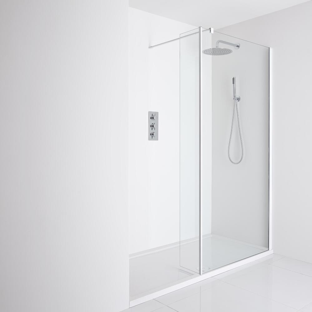 Milano Bianco Recessed Walk-In Shower Enclosure (1400 x 800mm) - Inc. Tray & Return Panel