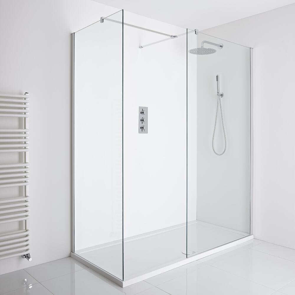 Milano Portland - Corner Walk-In Shower Enclosure (1700 x 800mm) - Inc. Tray