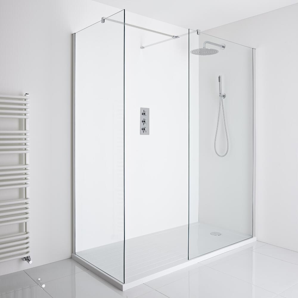 Milano Portland - Corner Walk-In Shower Enclosure (1600 x 800mm) - Inc. Walk-in Tray