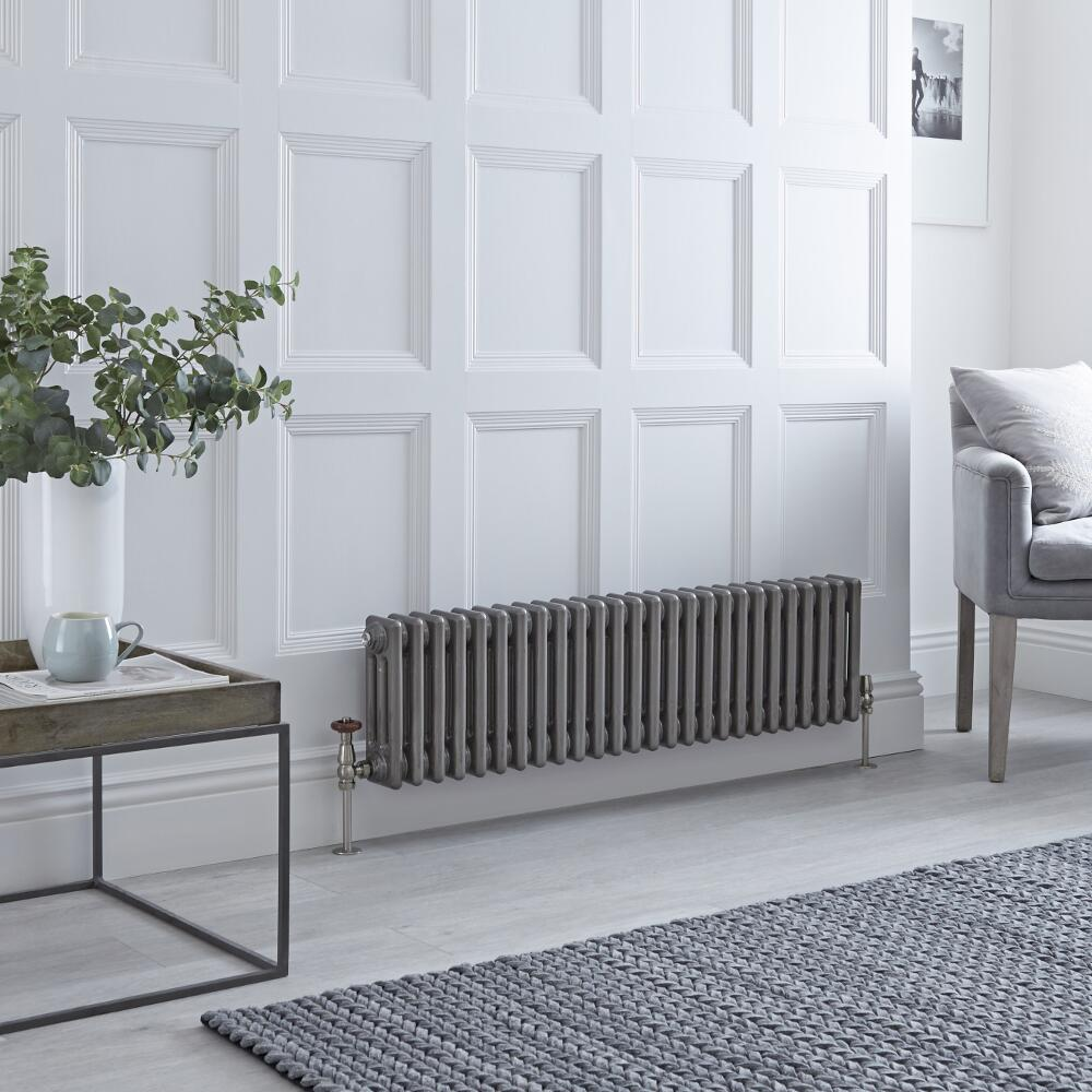 Milano Windsor - Traditional Lacqured Raw Metal Vertical Column Radiator - 300mm x 1193mm (Triple Column)
