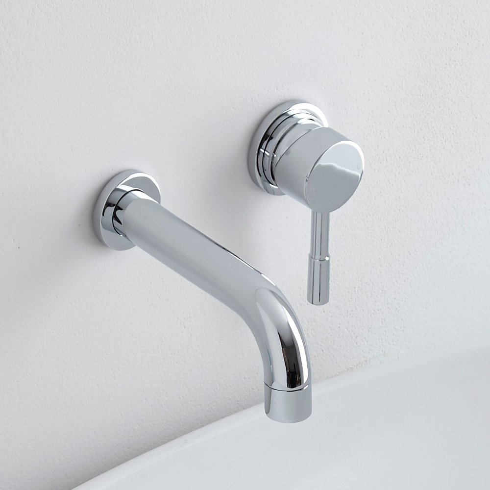 Milano - Modern Wall Mounted Round Basin Mixer Tap - Chrome