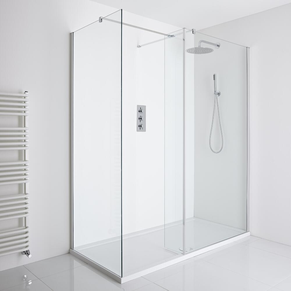 Milano Portland Corner Walk-In Shower Enclosure (1700 x 800mm) - Inc. Tray & Return Panel