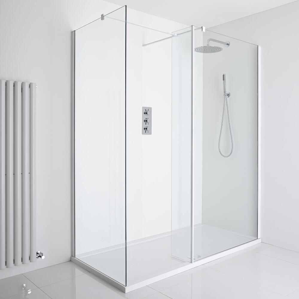 Milano Bianco Corner Walk-In Shower Enclosure (1400 x 800mm) - Inc. Tray & Return Panel