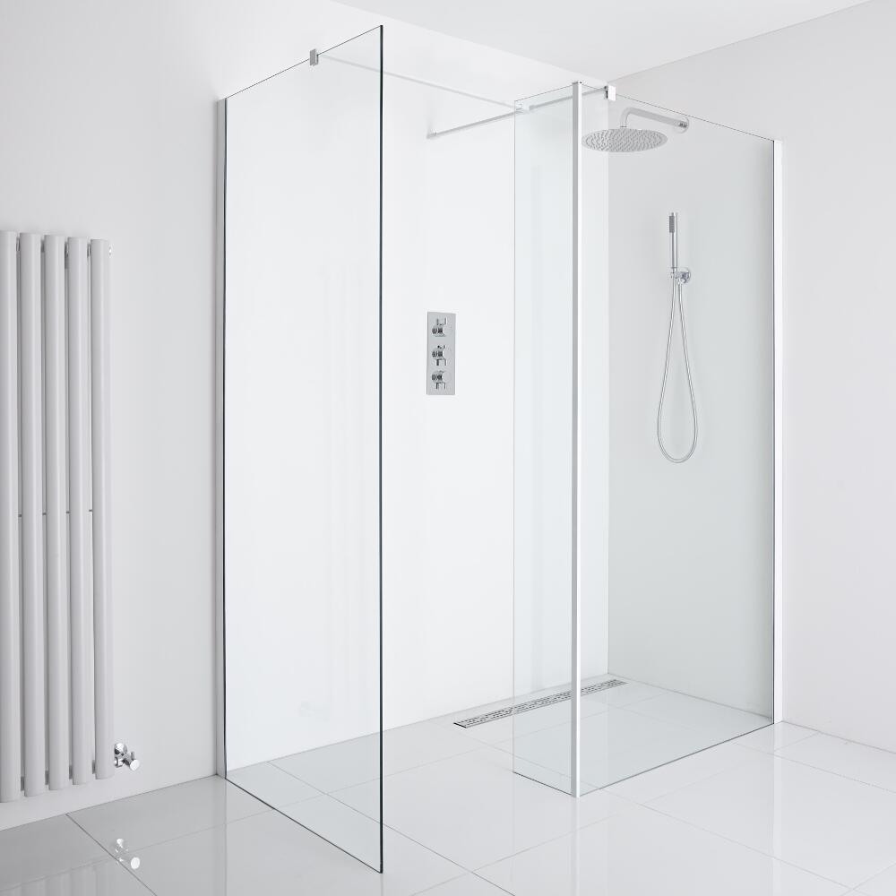 Milano Bianco Corner Wet-Room Shower Enclosure (900mm x 800mm Glass) - Inc. Drain & Return Panel
